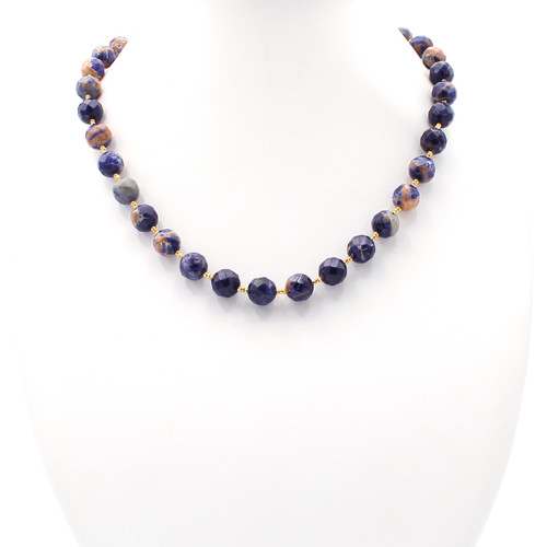 Blue and pink sodalite necklace with white veins and 22k gold