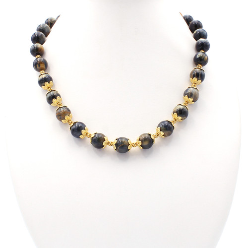 Natural brown tiger's eye necklace at Abson Inc