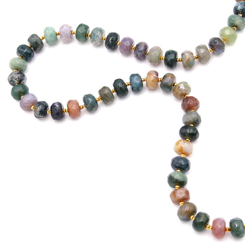 multicolored fancy jasper and 22k gold necklace
