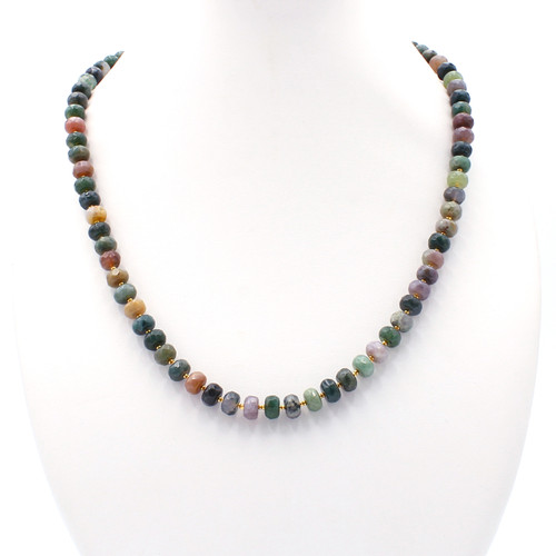 Natural faceted rondelle fancy jasper and 22k gold bead necklace
