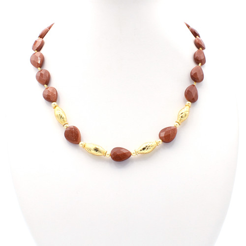 Faceted goldstone teardrops and 22k gold bead necklace