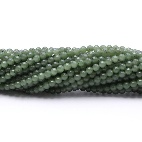 Natural smooth round jade beads, center drilled
