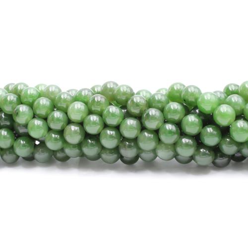 Natural light green jade beads, center drilled, 8 mm