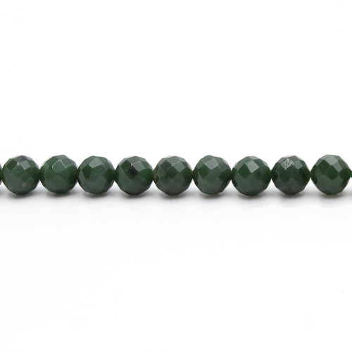 Natural green faceted nephrite jade beads, 10 mm