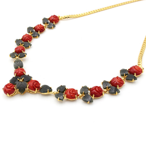 Red Taiwan coral flower necklace with green jade leaves and 22k gold