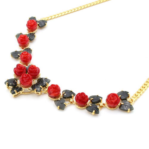 Bright red dyed coral roses and natural jade leaf necklace, real gold plated