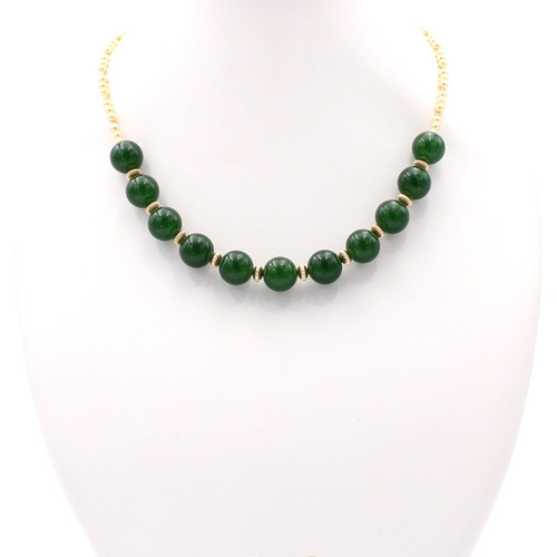 Natural freshwater pearls and round jade bead necklace