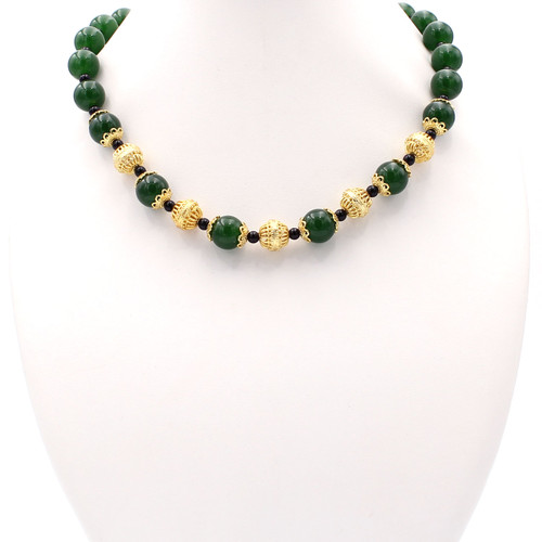 Green jade black onyx gold necklace at Abson Inc