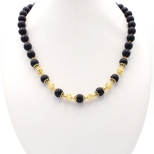 Round black onyx bead with Chinese characters and real gold beads