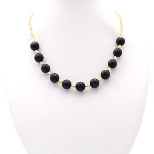 Natural black onyx, cream freshwater pearls, 22k gold bead necklace