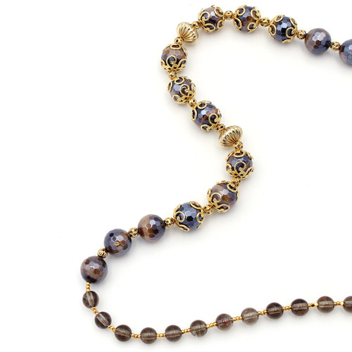 Round faceted tiger's eye and smoky quartz beads with 22k gold