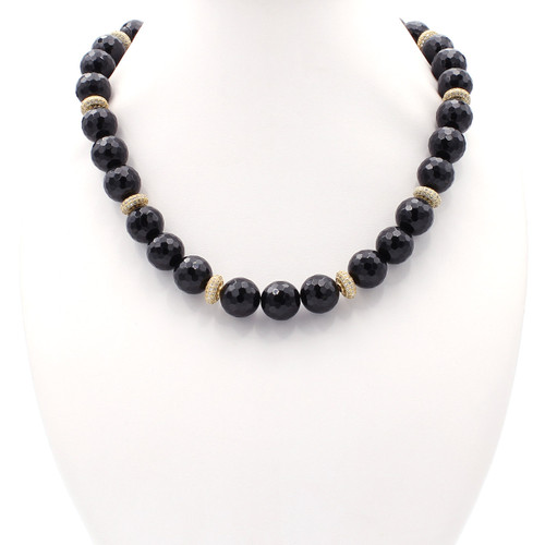 Black onyx necklace with faux diamonds and gold