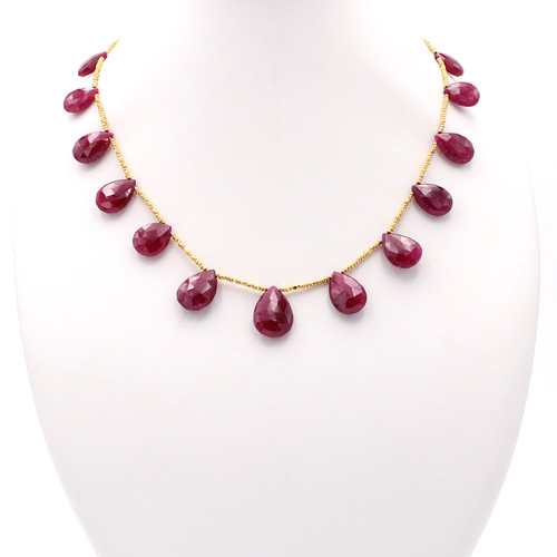 Faceted ruby teardrop necklace with 22k gold beads