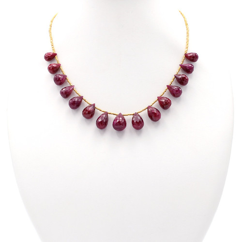 Large graduated ruby stone necklace with 22k gold beads
