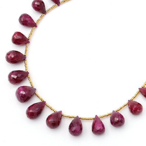 Round natural ruby teardrop necklace with 22k gold beads