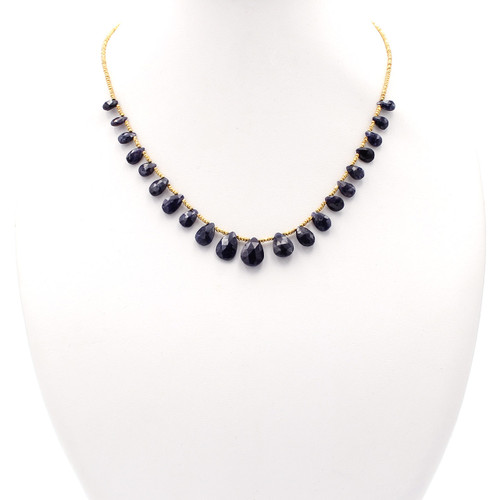 Dark blue natural flat faceted teardrop stone necklace with 22k gold beads