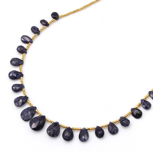 Natural blue sapphire graduated necklace with gold beads