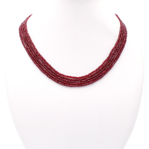 Natural clear red ruby necklace, untreated raw cut rubies