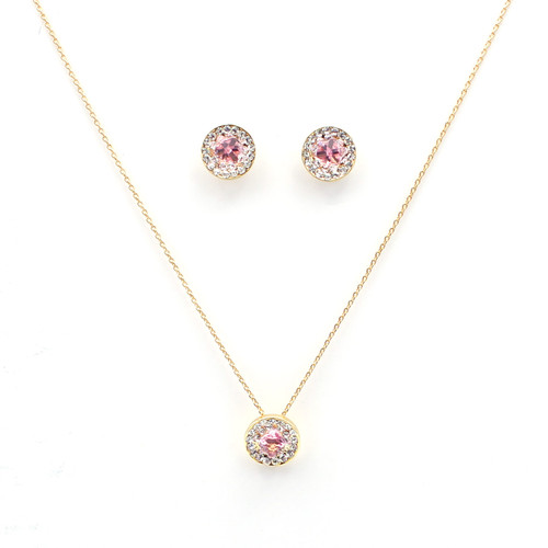 Pink & White Swarovski Crystal Circle Set