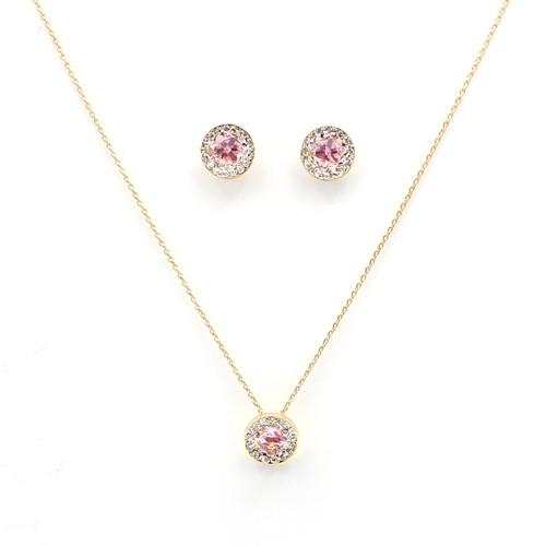 Pink & White Swarovski Crystal Circle Set