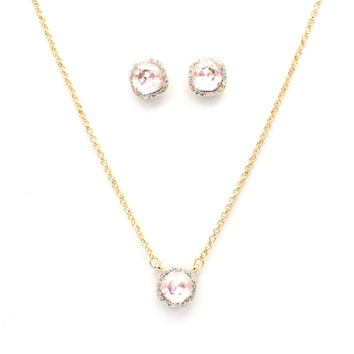 Pink Cushion-Cut Swarovski Crystal Set