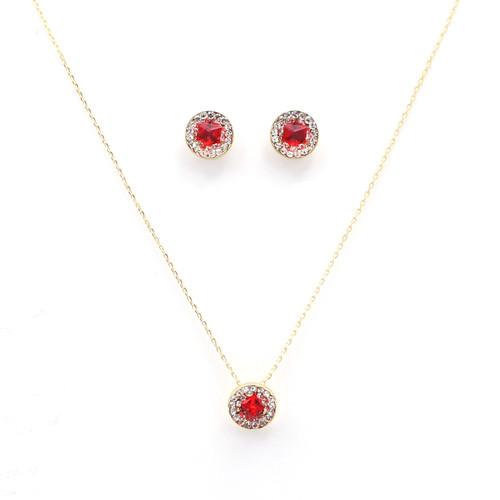 Red & White Swarovski Crystal Circle Set