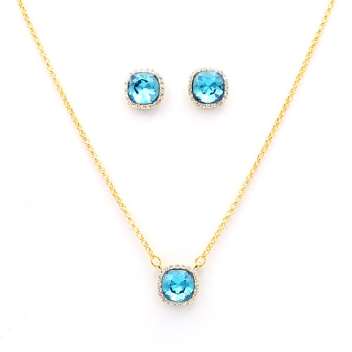 Blue Cushion-Cut Swarovski Crystal Set