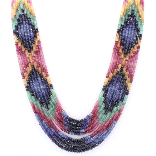 Natural faceted ruby emerald sapphire bead necklace