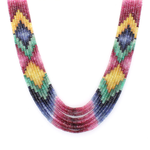 Hand strung precious bead necklace, pattern