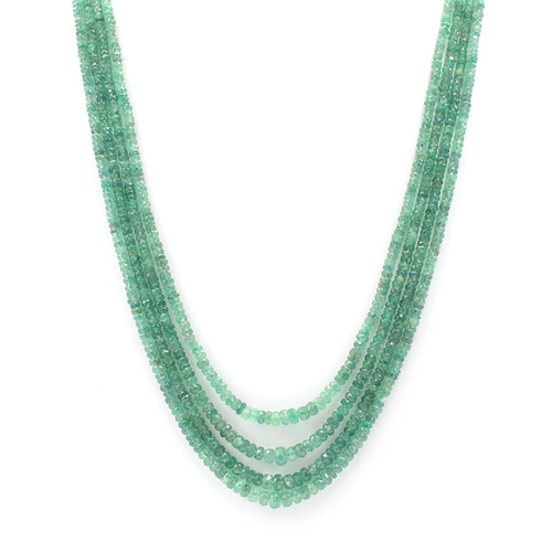 Natural faceted green emerald bead necklace, graduated