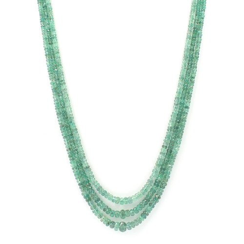 Three layer graduated natural emerald necklace