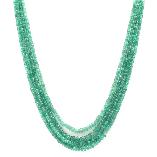 four layer natural emerald bead necklace