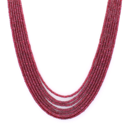 Dark red rondelle smooth ruby bead necklace