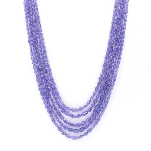 Five layer tanzanite cabochon necklace