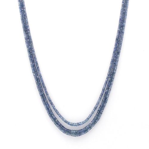 Three Layer Light Blue Sapphire Necklace