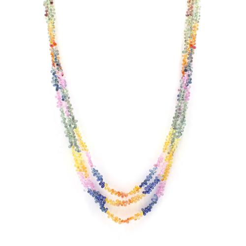 Multicolored Sapphire Drop Necklace