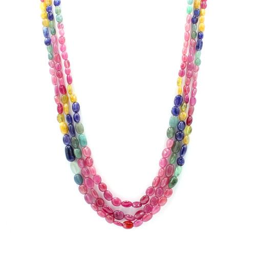 Three Layer Ruby, Emerald, & Sapphire Stone Necklace