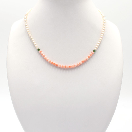 Pink corals, freshwater pearls, and jade bead necklace