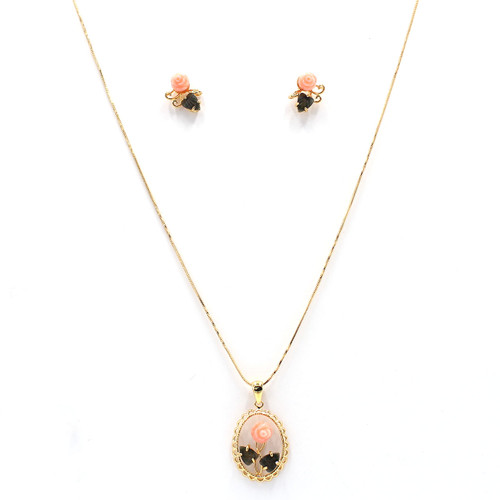 pink coral rose and gold necklace earrings set