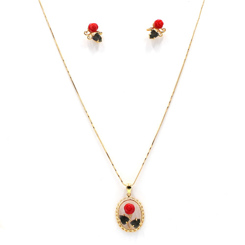 red coral necklace and earrings, gold chain