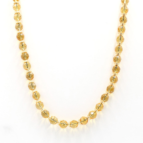 Faceted round citrine and golden bead necklace