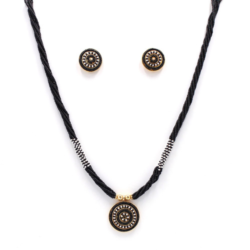 black seed bead necklace with beaded earrings