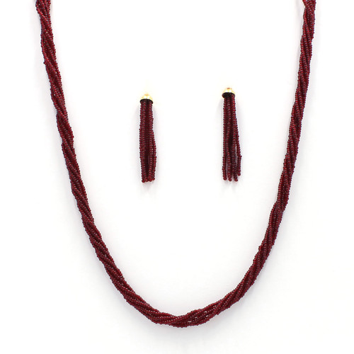 twisted maroon seed bead necklace and tassel earrings