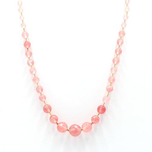 graduated rose quartz and 24k gold necklace