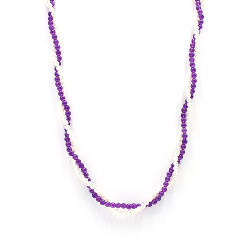 A beautiful necklace of pearl and amethyst beads
