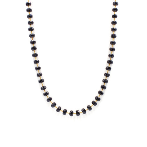 Faceted Black Onyx Saucer Necklace