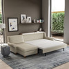 Queen Comfort Sleeper® with Chaise Sectional in Crypton® Hera Ivory Fabric with Walnut Finish Legs