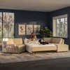 Queen Comfort Sleeper® Sectional in Sunbrella® Pique Sand Fabric with Espresso Finish Legs