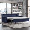 Queen Plus Comfort Sleeper® in Crypton® Atlas Navy Fabric with Acorn Finish Legs