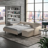King Comfort Sleeper® with Chaise Sectional Crypton® Athena Pearl Fabric with Acorn Finish Legs